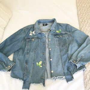 Trendy oversized jean jacket